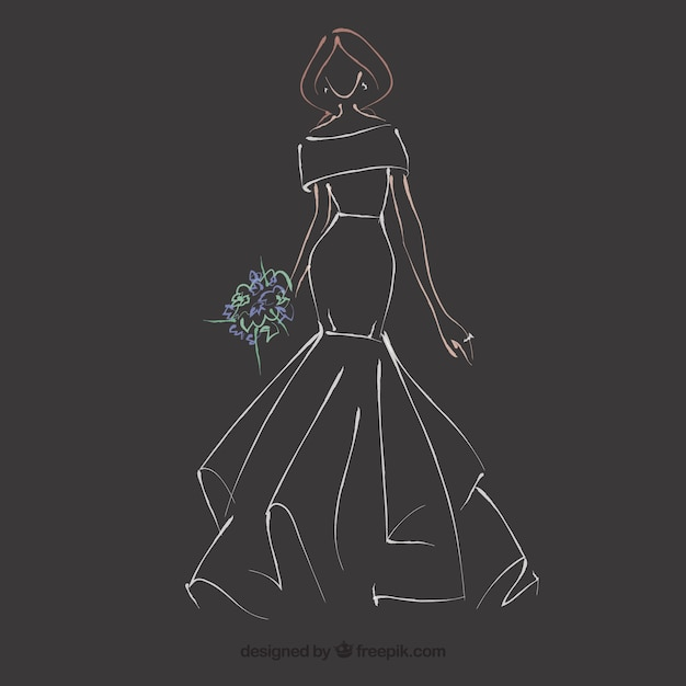 Cute Sketches of Fashion Prom Dresses