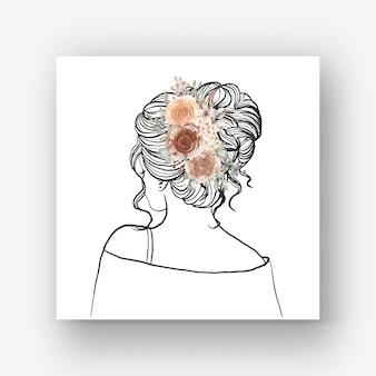 손으로 그린 아름 다운 헤어 스타일 꽃 수채화 일러스트와 함께 신부