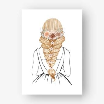 손으로 그린 아름 다운 헤어 스타일 꽃 수채화 illustrationt 신부