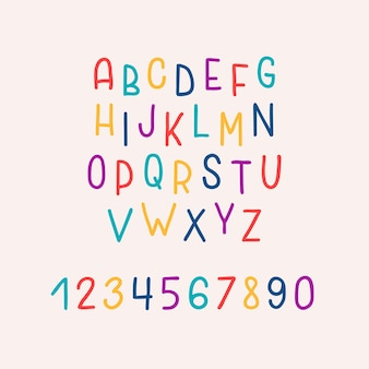 Hand drawn bright colorful alphabet isolated on pastel background