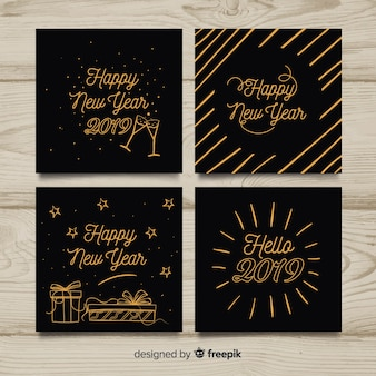Hand drawn bronze cards new year collection