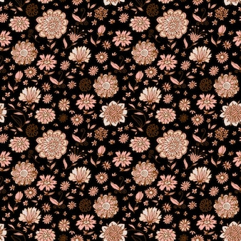 Hand drawn brown background with vintage flowers