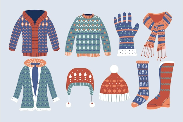 Hand drawn brown and blue winter clothes