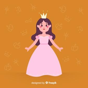 Hand drawn brunette princess portrait