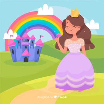 Hand drawn brunette princess waving portrait