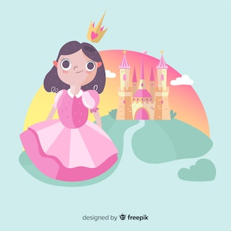 Hand drawn brunette princess with castle portrait