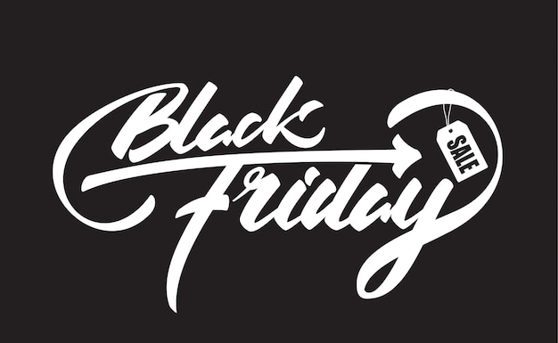 Hand drawn brush composition lettering with black friday and sale label isolated