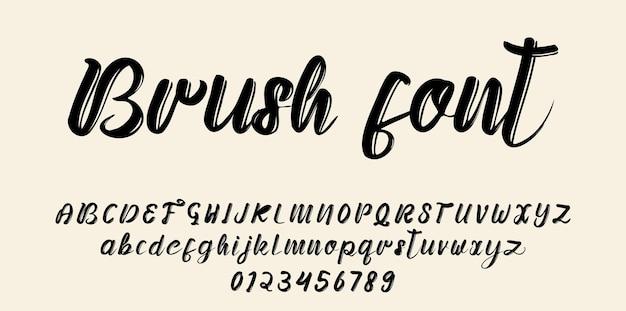 손으로 그린 브러쉬 글꼴 알파벳