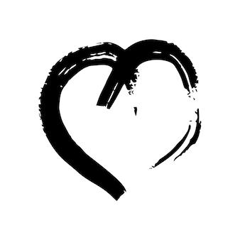 손으로 그린 브러쉬 하트. 흰색 바탕에 그런 지 검은 낙서 심장입니다. 낭만적인 사랑의 상징입니다. 벡터 일러스트 레이 션.