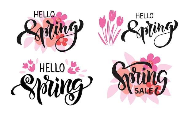 손으로 그린 된 브러쉬 레터링 안녕하세요 봄. 봄 시즌 광고. 핑크 꽃과 잎 템플릿입니다.