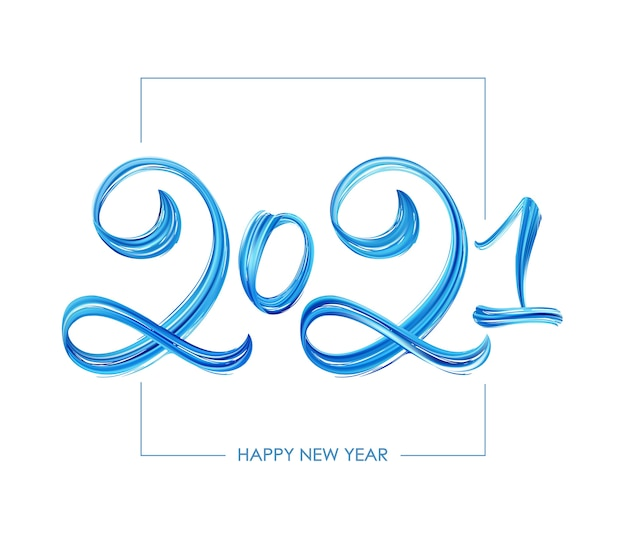 Hand drawn brush stroke blue paint lettering. happy new year