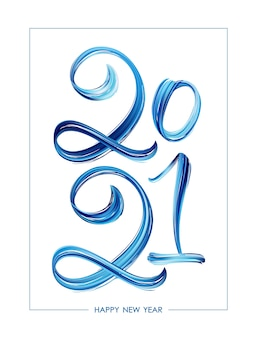 Hand drawn brush stroke blue paint lettering, happy new year