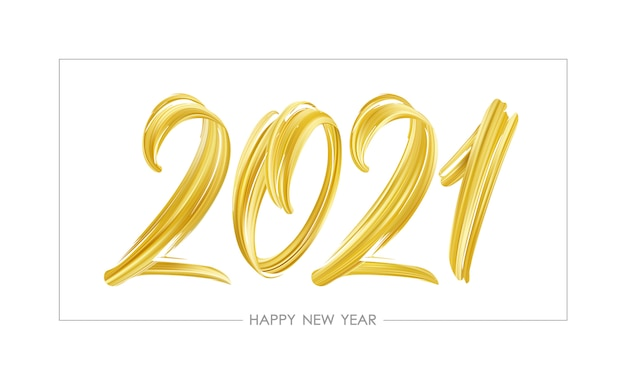 Ручной обращается мазок кисти золотого цвета краской надписи 2021 года.