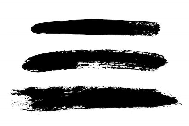 手描きのブラシストロークセット、汚れ。モノクロのデザイン要素を設定します。
