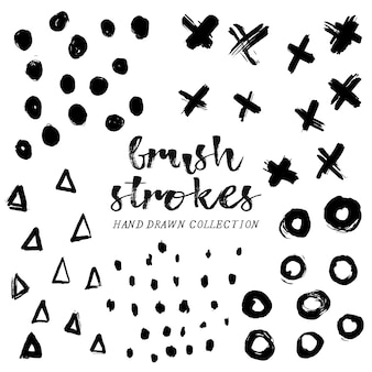 Hand drawn brush strokes collection