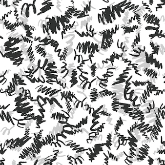 Hand drawn brush strokes seamless pattern. black and silver ink backdrop. vector illustration