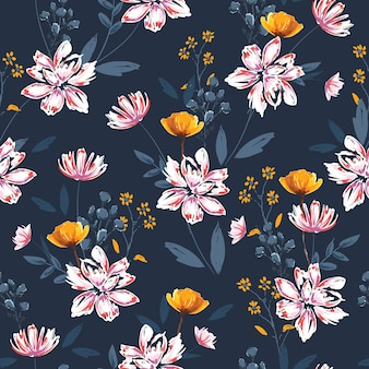 Hand drawn brushed sketch soft blooming white floral with many kind of botanical florals, plants artistic mood seamless pattern vector eps10 , design for all prints on dark blue