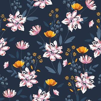 손으로 그린 브러시 스케치 부드러운 꽃이 피는 다양한 식물 꽃, 식물 예술적 분위기의 매끄러운 패턴 벡터 eps10, 짙은 파란색의 모든 인쇄용 디자인