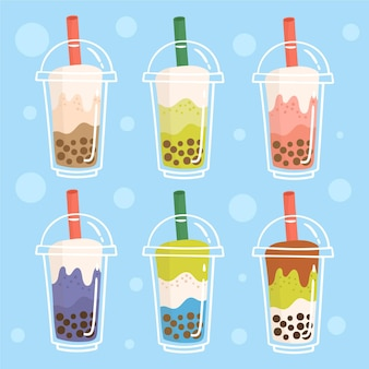 Hand drawn bubble tea flavors collection