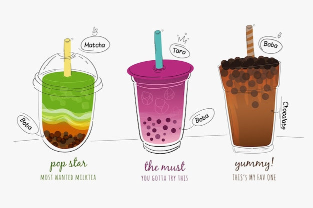 Hand drawn bubble tea flavors pack