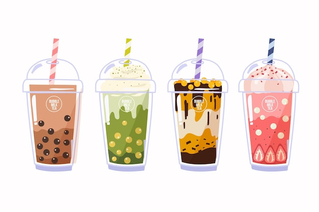 Hand drawn bubble tea flavors set