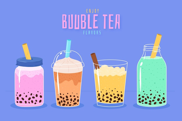 Hand-drawn bubble tea flavors