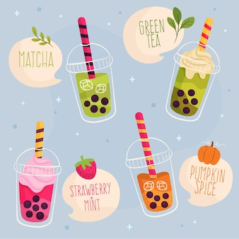 Hand drawn bubble tea flavors