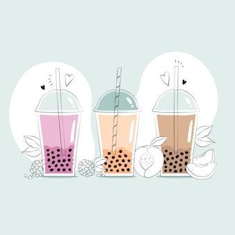 Hand drawn bubble tea flavors
