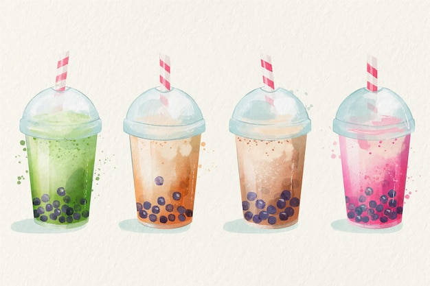 Рисованные ароматы пузырькового чая