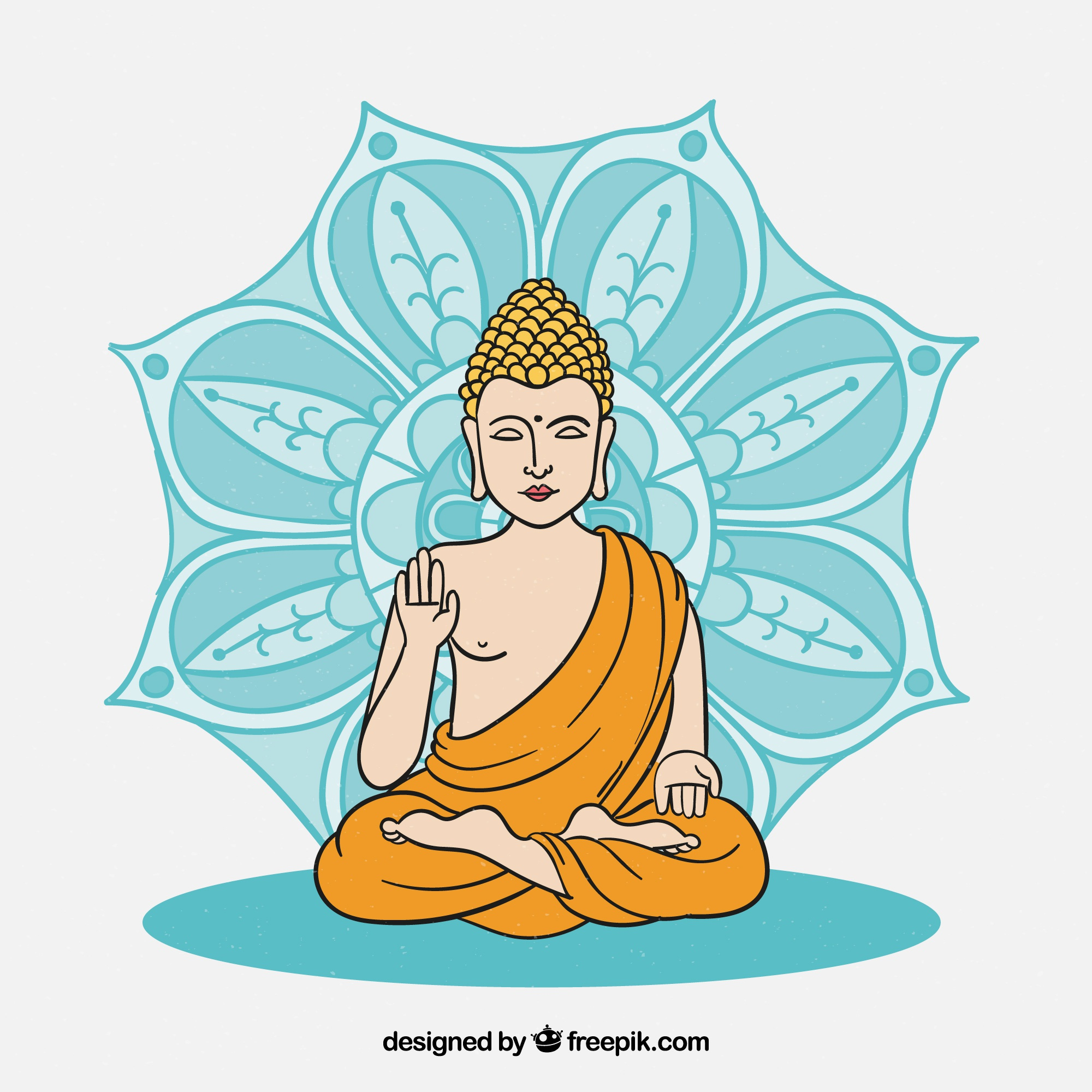 Hand drawn budha with colorful style