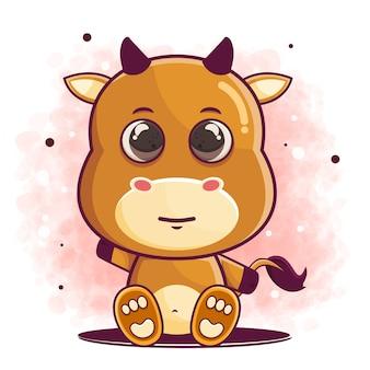手描きの水牛の漫画のキャラクター