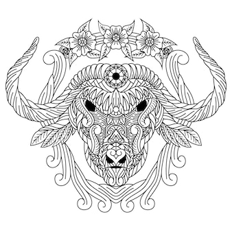 Hand drawn of buffalo head in zentangle style