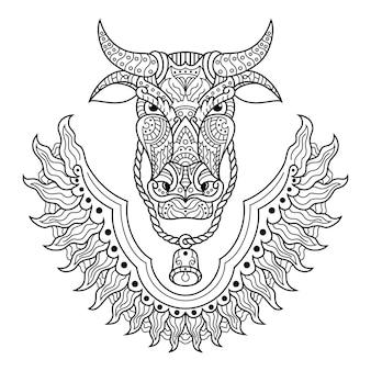 Hand drawn of buffalo head in zentangle style