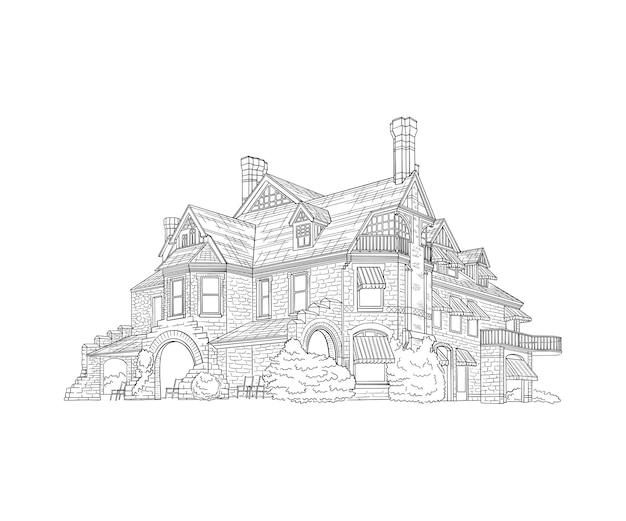 手描きの建物のイラストデザイン