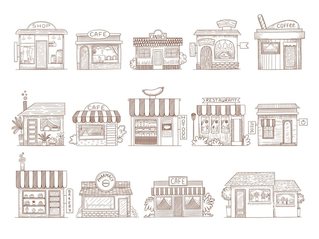 手描きの建物。薬局のショップバーとレストランの市場のイラスト。