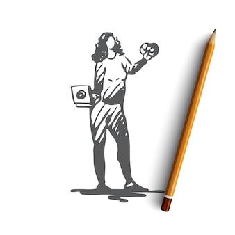 Нарисованная рукой иллюстрация булимии
