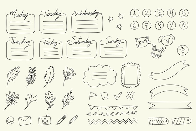 Hand drawn bullet journal elements collection