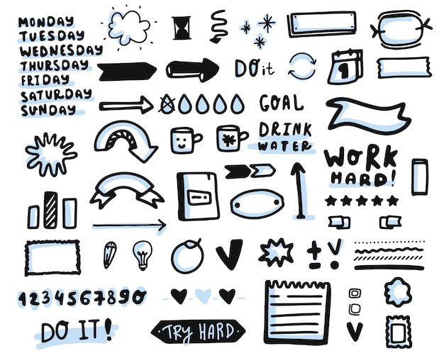 Hand drawn bullet journal elements