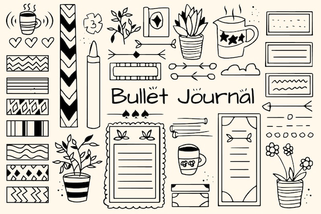 Hand drawn bullet journal elements