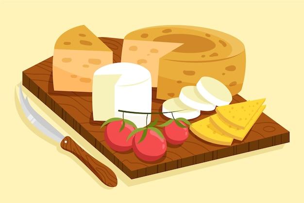 さまざまな種類のチーズの手描きの束