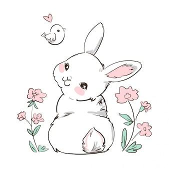 手描きバニーと小鳥、花。かわいいうさぎ。キッズファッションのプリントデザイン。