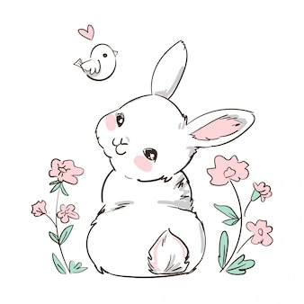 Hand drawn bunny and little bird, flowers. cute rabbit . print design for kids fashion.