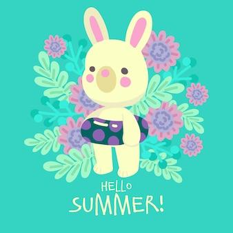 手描きのウサギの夏の準備