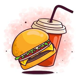 手描きのハンバーガーと飲み物の落書き