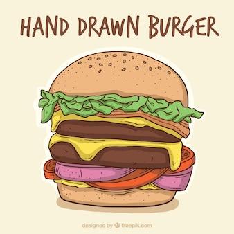 手描きのハンバーガーの背景