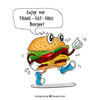 Hand-drawn burger character