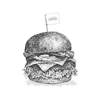 손으로 그린 버거 그림입니다. 빈티지 흑백 패스트 푸드 컬렉션.