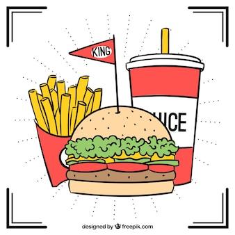 Hand-drawn burger menu background