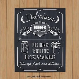 Hand drawn burger menu on blackboard