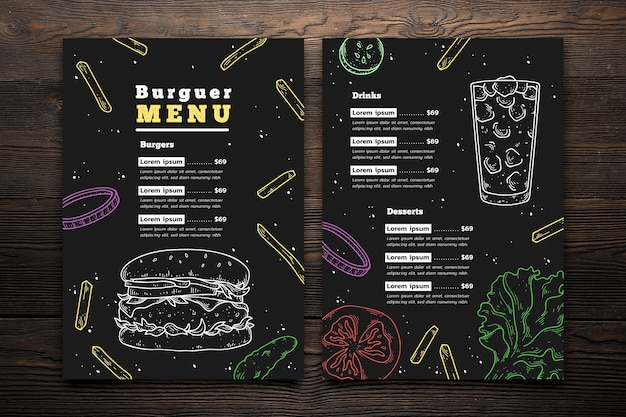 Hand drawn burger menu template